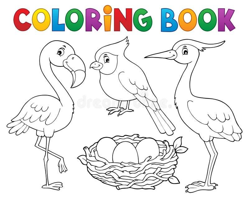 Het kleuren onderwerp 1 van de boekvogel stock illustratie