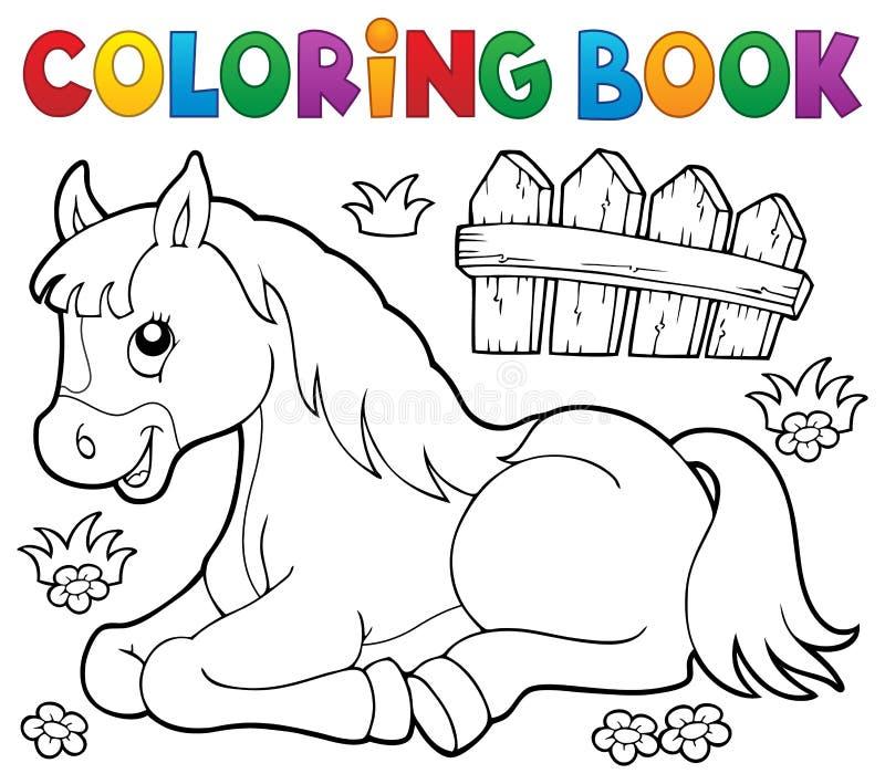 Het kleuren onderwerp 1 van het boekpaard royalty-vrije illustratie