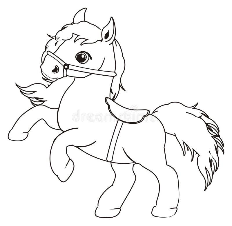 het kleuren paard en zadel stock illustratie illustratie
