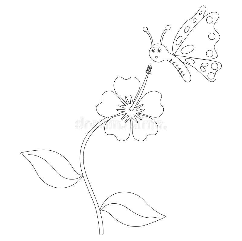 Het kleuren pagina'svlinder en bloem royalty-vrije illustratie