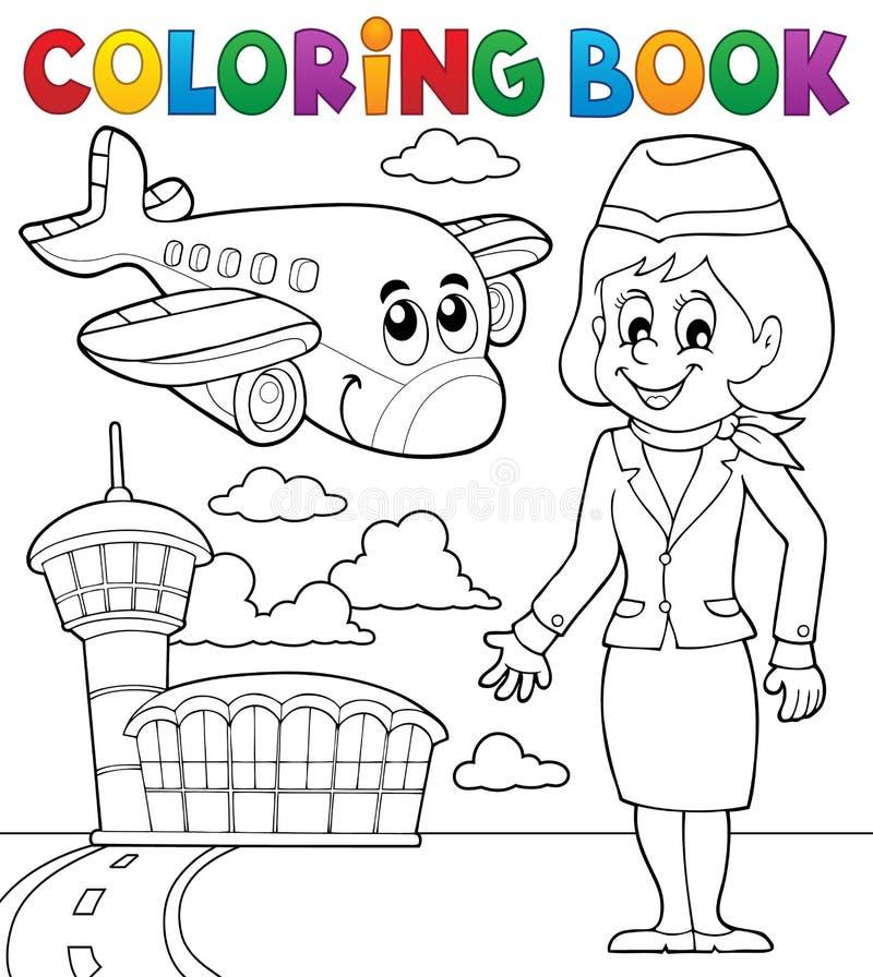 Het kleuren thema 2 van de boekluchtvaart vector illustratie