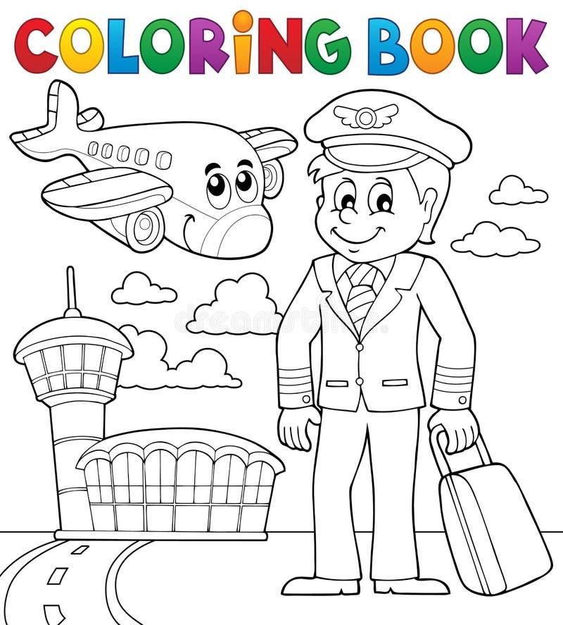 Het kleuren thema 1 van de boekluchtvaart vector illustratie
