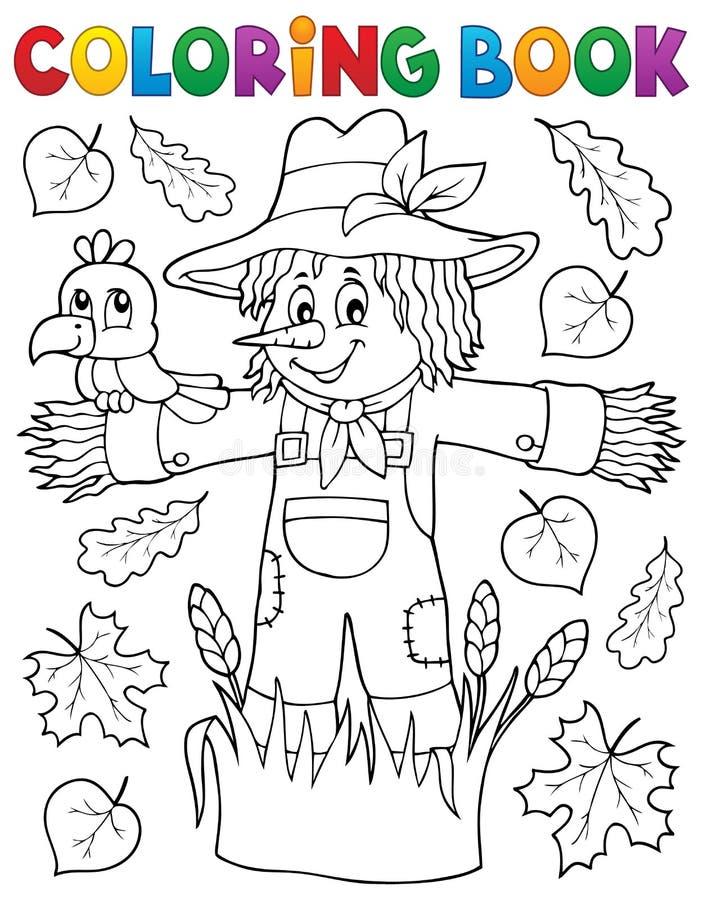 Het kleuren thema 1 van de boekvogelverschrikker vector illustratie