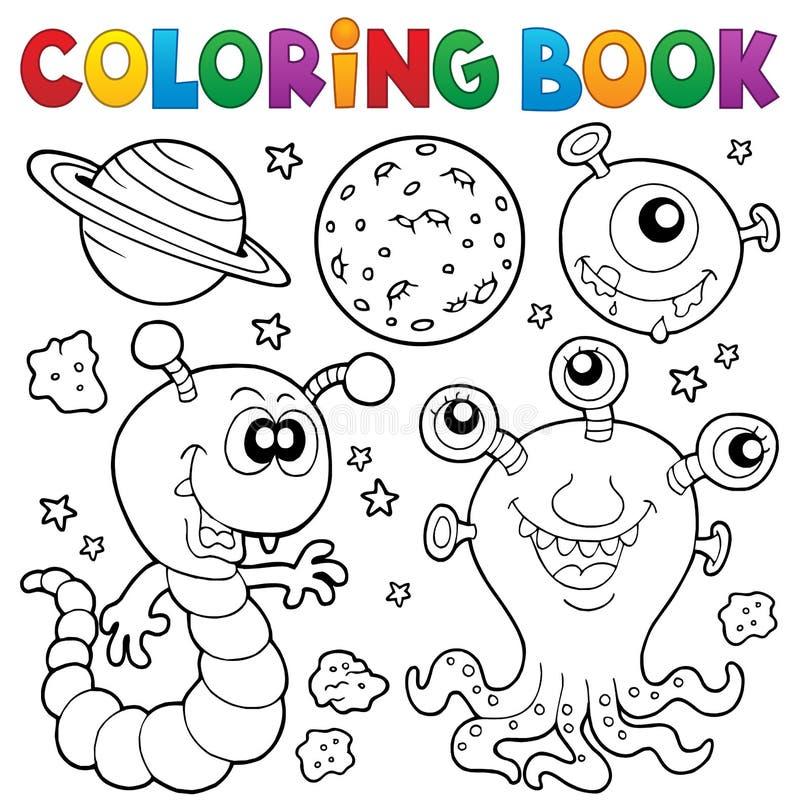 Het kleuren thema 2 van het boekmonster royalty-vrije illustratie