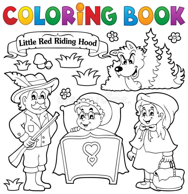 Het kleuren thema 1 van het boeksprookje royalty-vrije illustratie