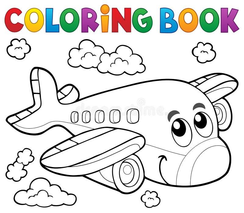 Het kleuren thema 2 van het boekvliegtuig royalty-vrije illustratie