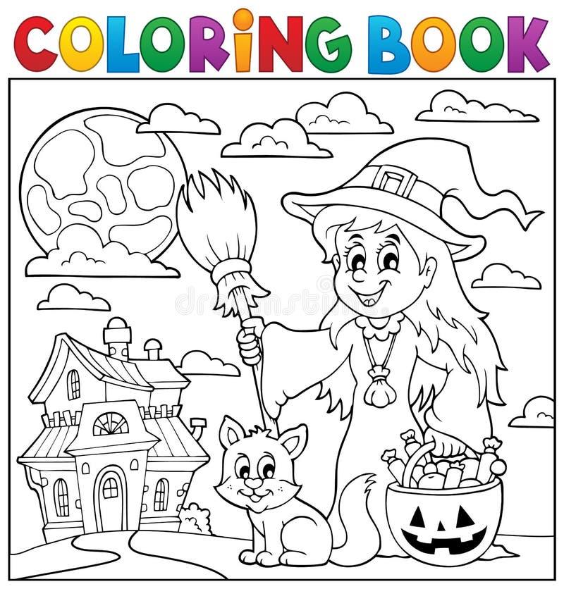 Het kleuren thematics 1 van boekhalloween royalty-vrije illustratie