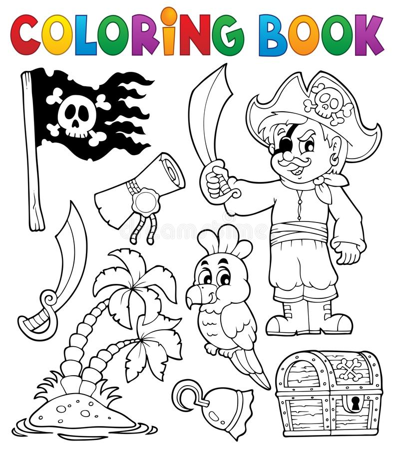 Het kleuren thematics 1 van de boekpiraat stock illustratie