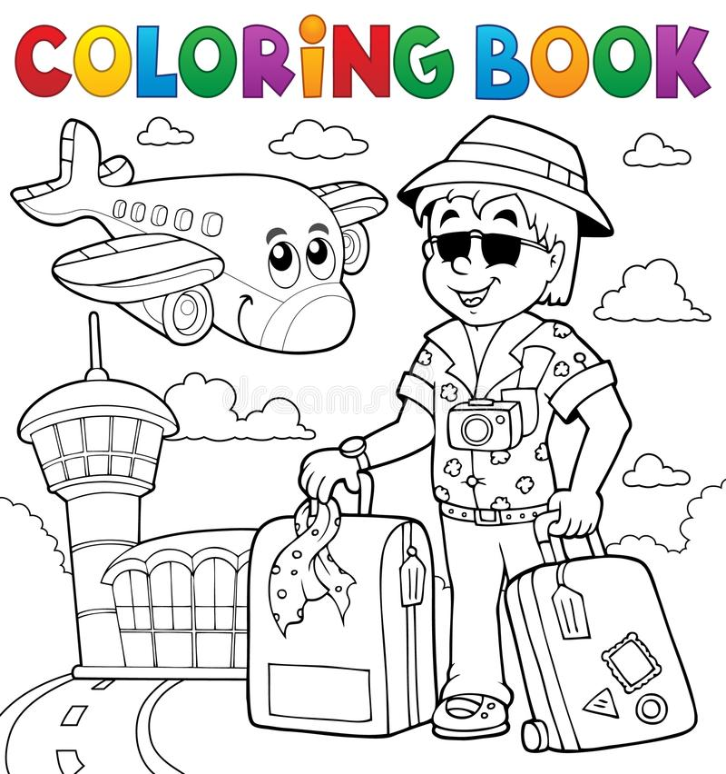 Het kleuren thematics 2 van de boekreis stock illustratie
