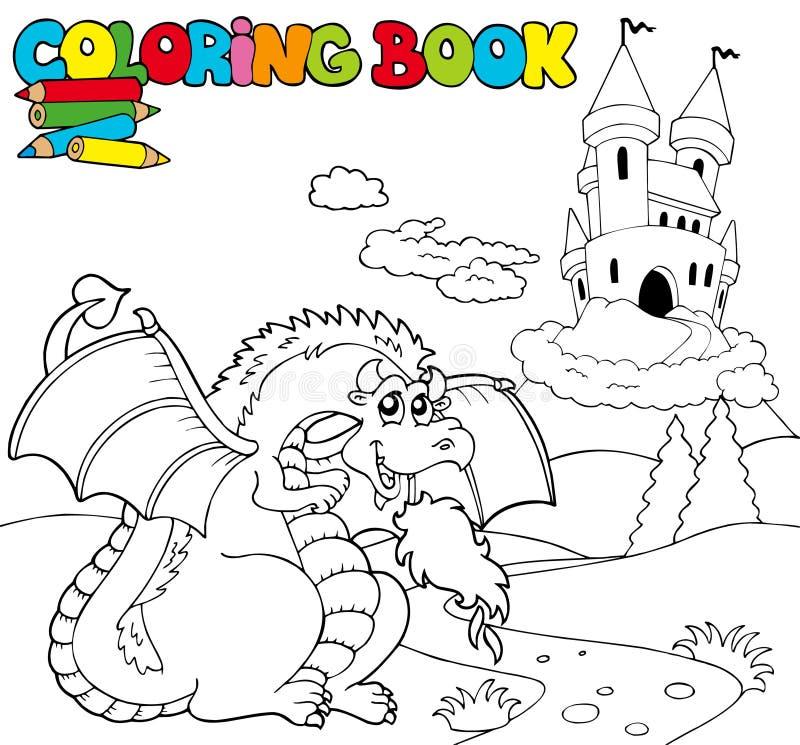 Het kleuren van boek met grote draak 1 royalty-vrije illustratie