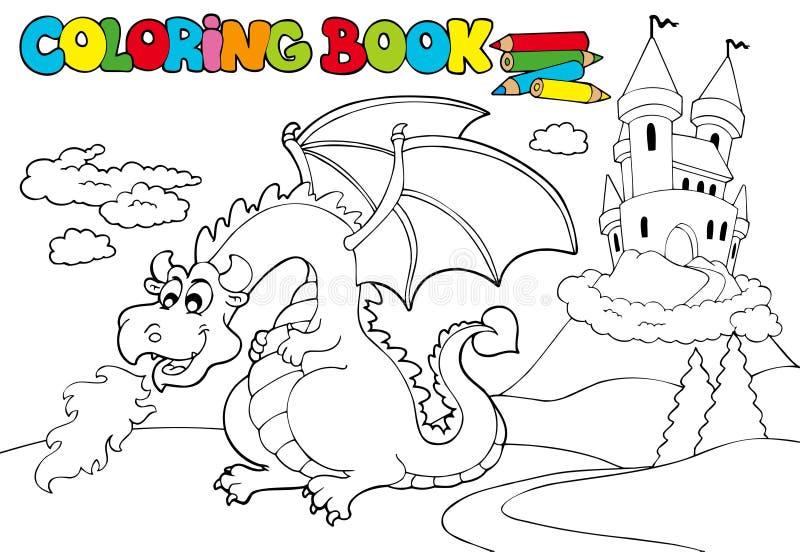 Het kleuren van boek met grote draak 3 royalty-vrije illustratie