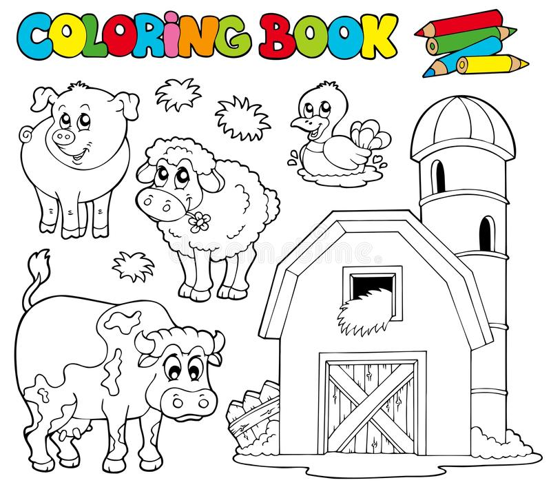 Het kleuren van boek met landbouwbedrijfdieren 1 stock illustratie