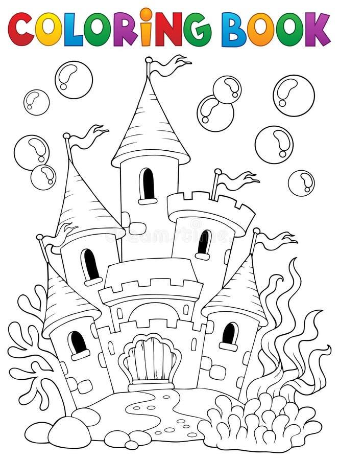 Het kleuren van boek onderwaterkasteel 1 vector illustratie