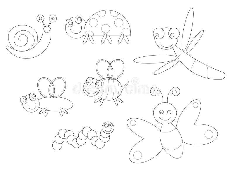 Het kleuren van insecten vector illustratie