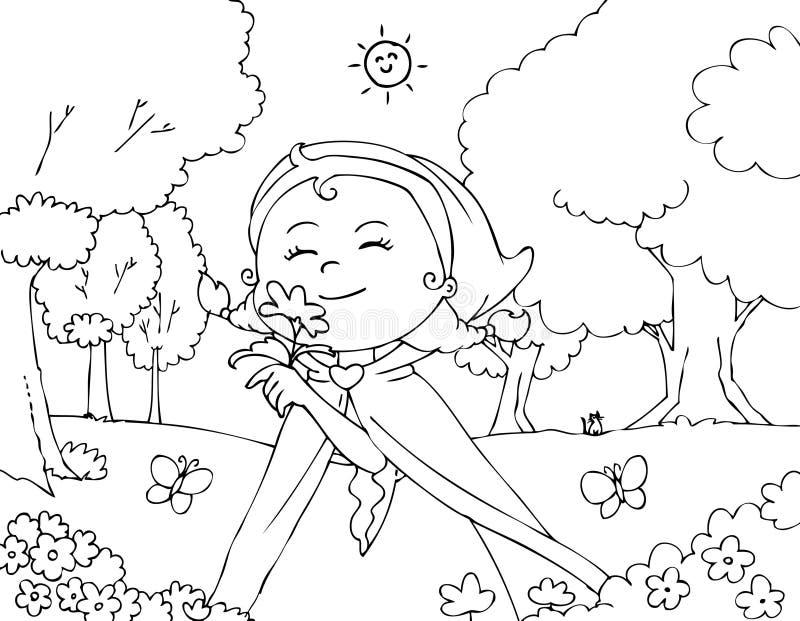 Het kleuren van Rode Berijdende Kap met bloemen vector illustratie