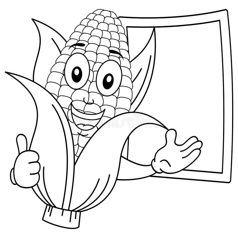 Het kleuren van Vrolijke Maïskolf met Bord stock illustratie