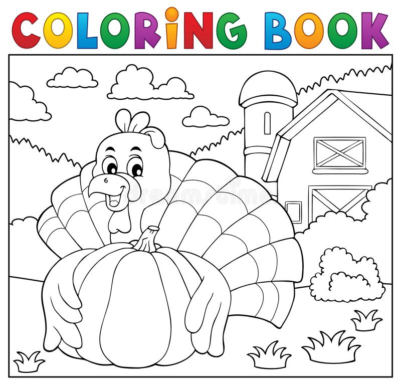 Het kleuren vogel en pompoen 2 van boekturkije vector illustratie
