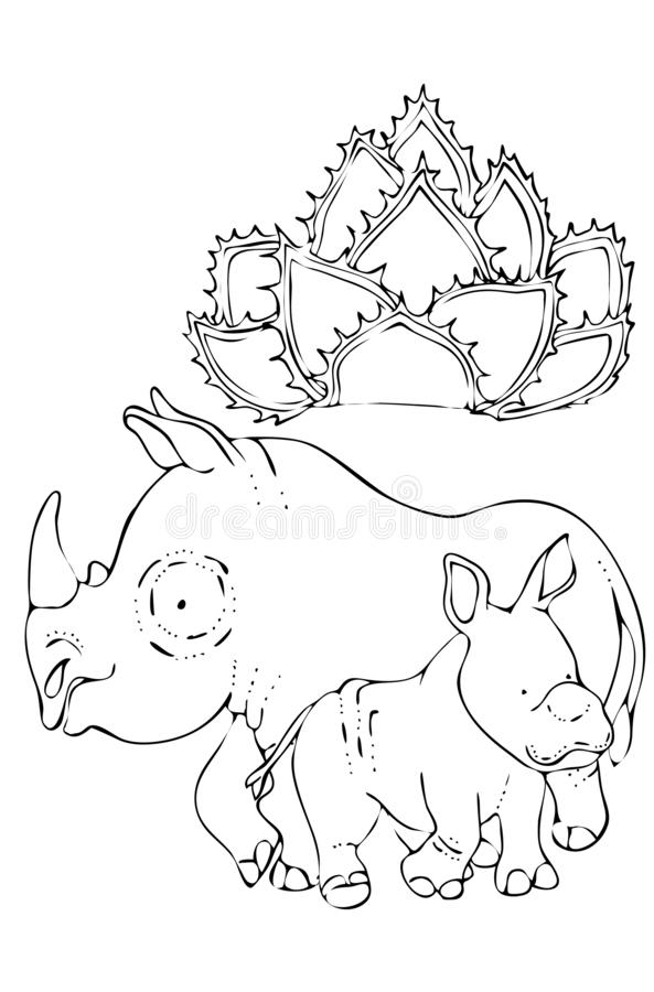 het kleuren voor jonge geitjes Dieren van de wildernis Rinoceros en babyrinoceros royalty-vrije illustratie