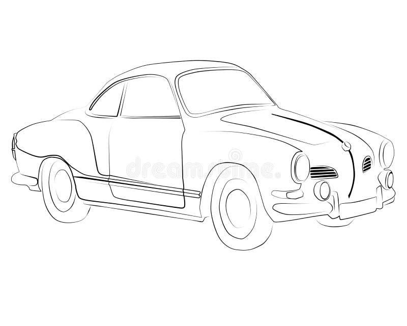 Het kleuren A zwart Volkswagen Karmann Ghia royalty-vrije illustratie