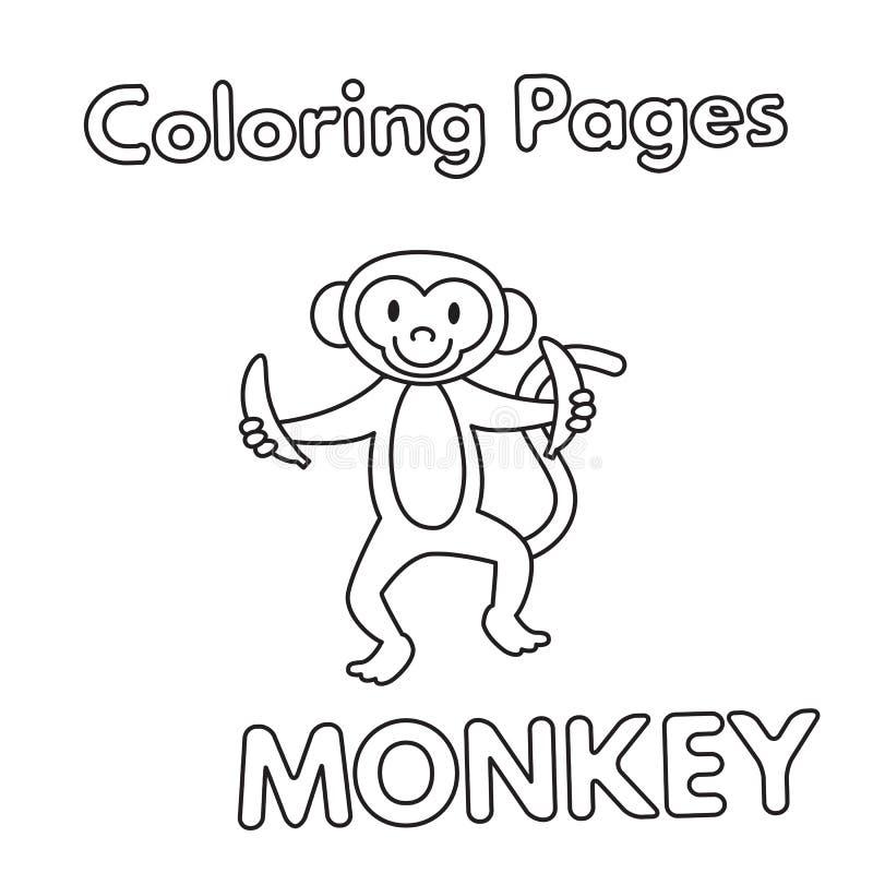 Het Kleurende Boek van de beeldverhaalaap vector illustratie