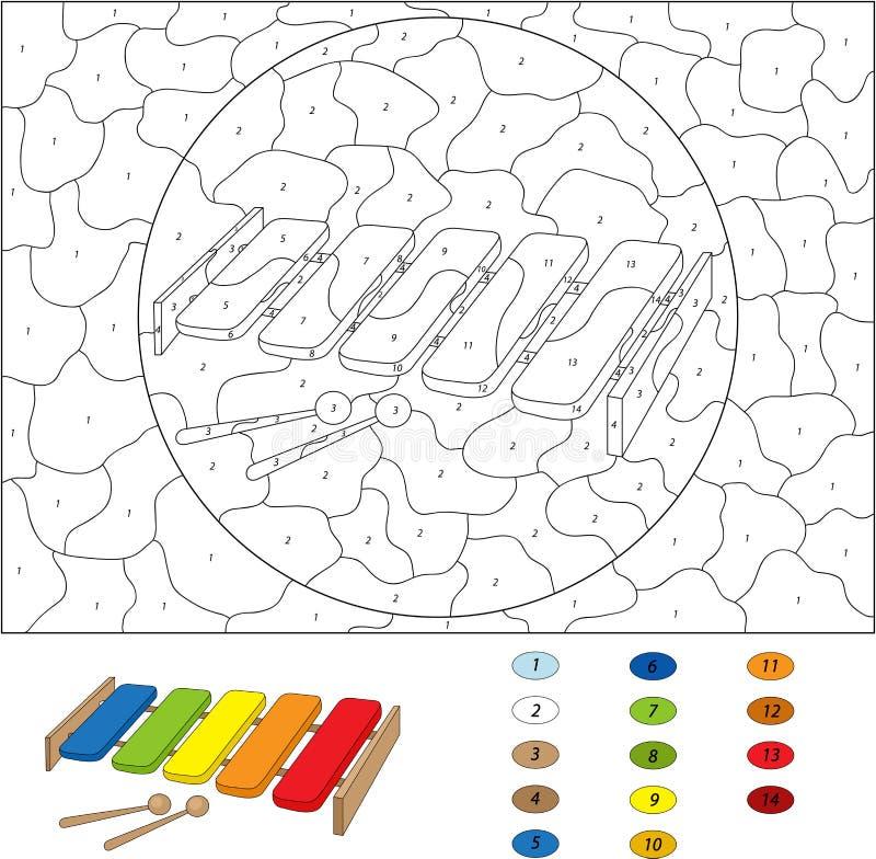 Het kleurende boek van de beeldverhaalxylofoon op wit Kleur door verkleumd stock illustratie