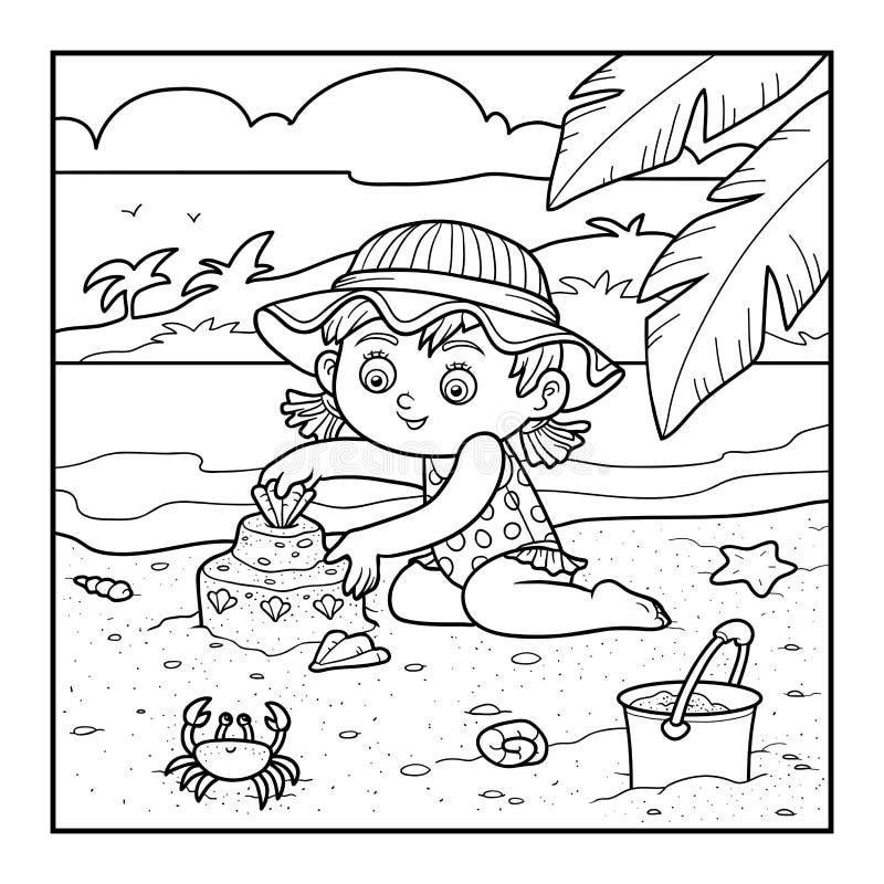 Het kleurende boek voor kinderen, meisje bouwt een zandkasteel vector illustratie