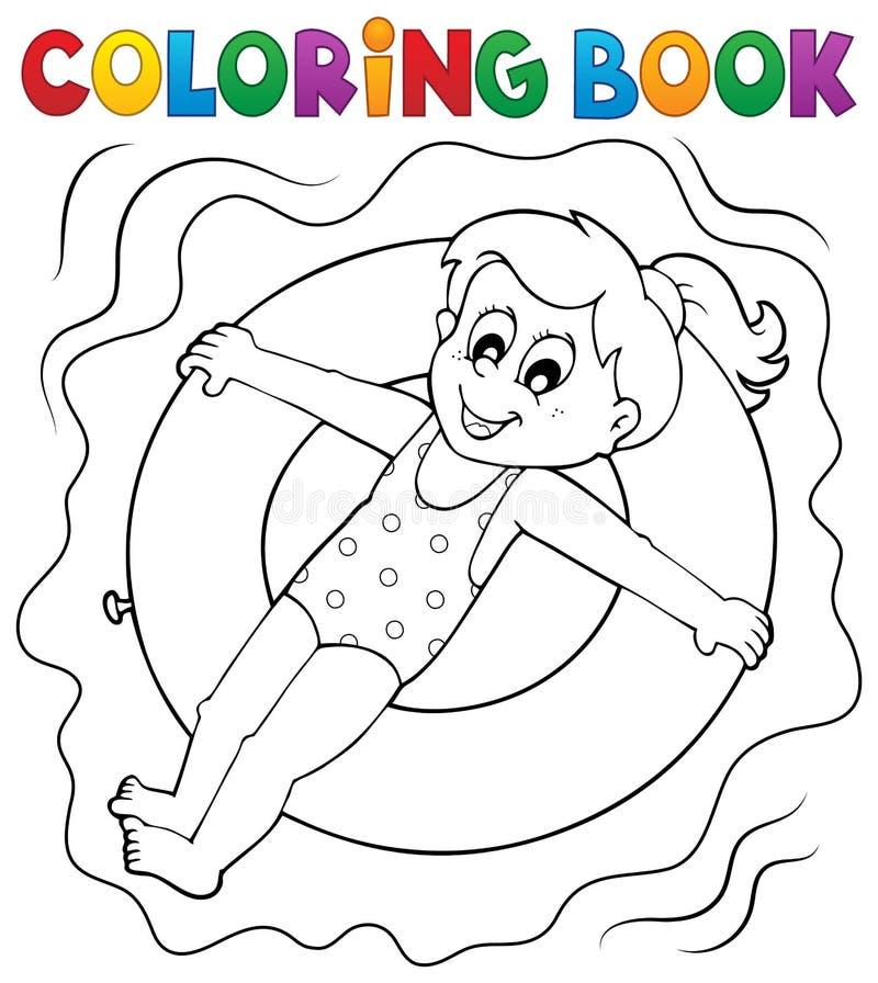 Het kleurende boekmeisje zwemt ring royalty-vrije illustratie