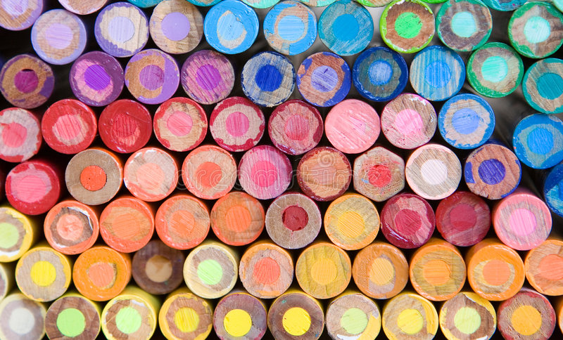 Het kleurpotloodmacro van het potlood stock afbeelding