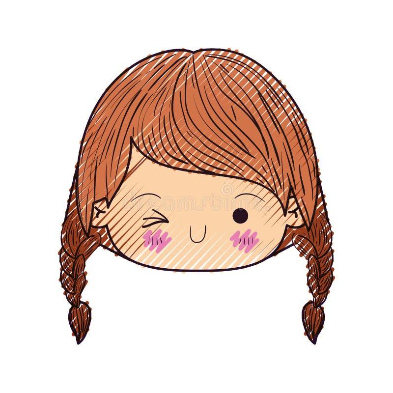 Het kleurpotloodsilhouet van kawaii hoofdmeisje met gevlecht haar en de gelaatsuitdrukking knipogen oog royalty-vrije illustratie
