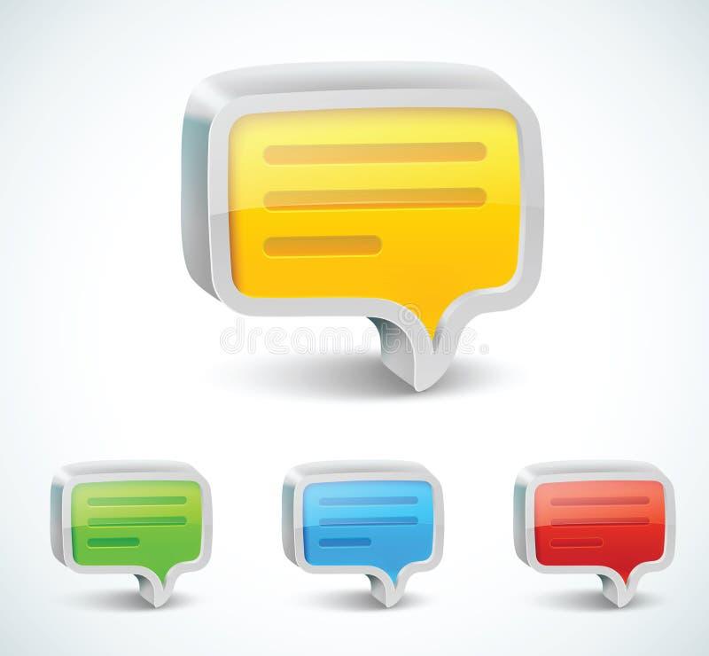 Het kleurrijke 3d pictogram van de bellentoespraak stock illustratie