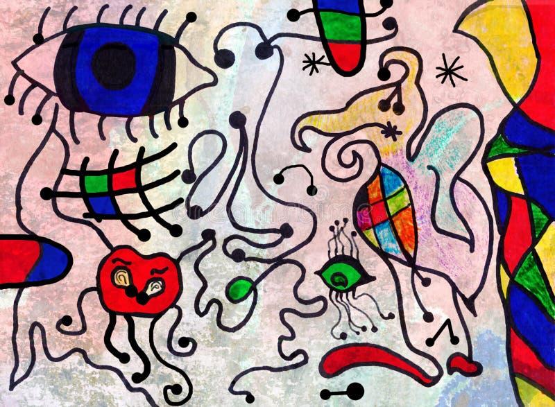 Het kleurrijke abstracte kunst schilderen door een tien jaar oud kind royalty-vrije illustratie
