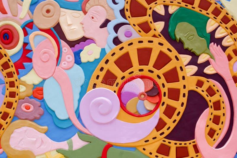 Het kleurrijke abstracte schilderen op muur stock afbeeldingen
