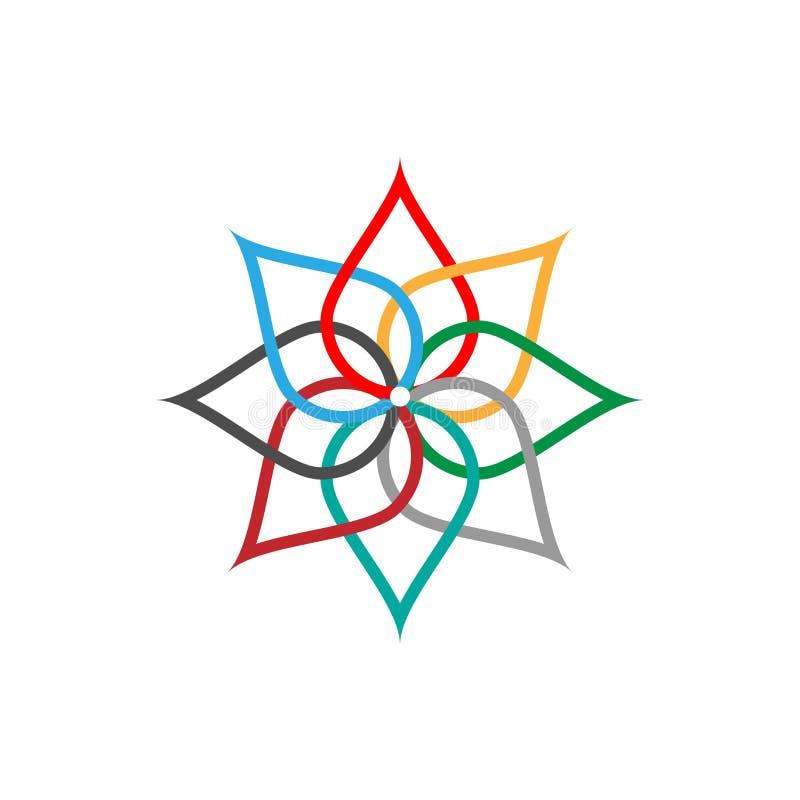 Het kleurrijke abstracte symbool van het Ecopictogram Vectorillustratie die op de lichte achtergrond wordt geïsoleerd Manier graf royalty-vrije illustratie
