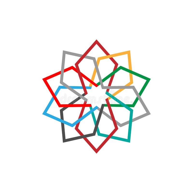 Het kleurrijke abstracte symbool van het Ecopictogram Vectorillustratie die op de lichte achtergrond wordt geïsoleerd Manier graf stock illustratie
