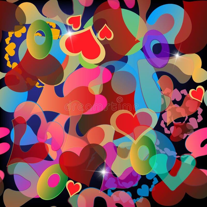 Het kleurrijke abstracte vector naadloze patroon van liefdeharten Heldere brieven, woorden, vormen Decoratief herhaal elegantieac stock illustratie