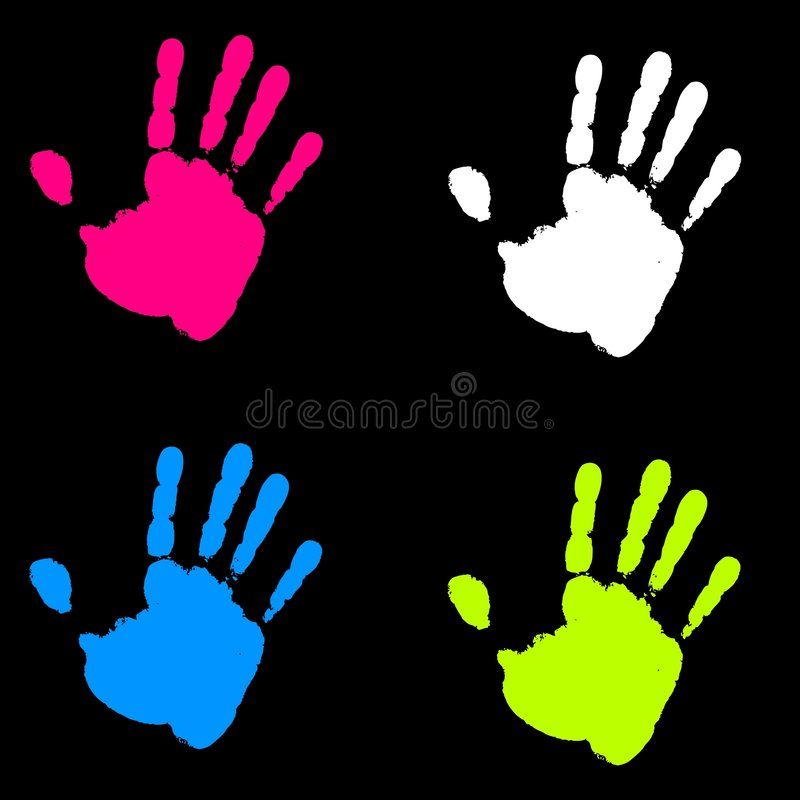 Het kleurrijke Af:drukken van de Verf van de Hand vector illustratie
