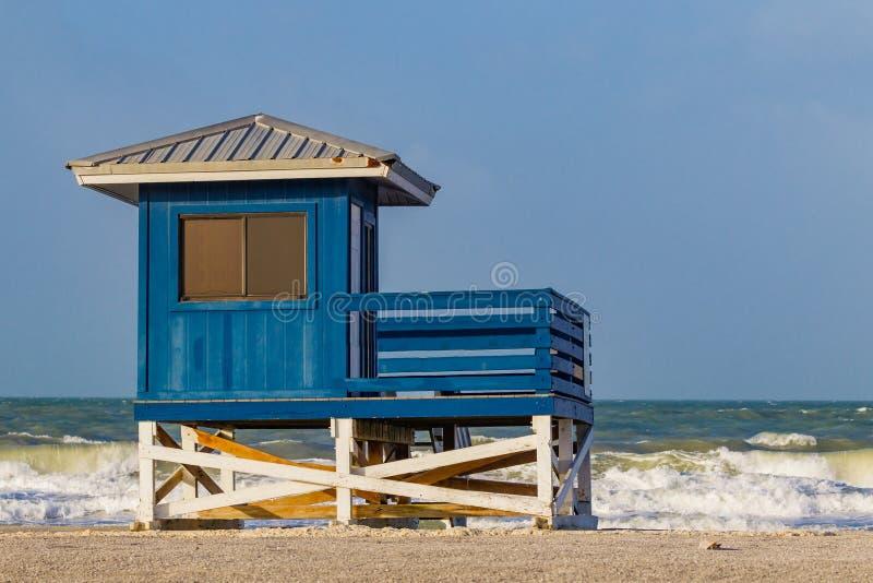 Het kleurrijke badmeesterhuis op het mooie Strand van Venetië, Florida-2-geeft uit royalty-vrije stock afbeelding