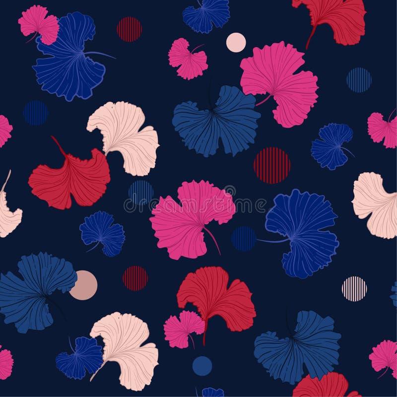 Het kleurrijke Blazen Gingko verlaat naadloos patroon vector in hand D royalty-vrije illustratie