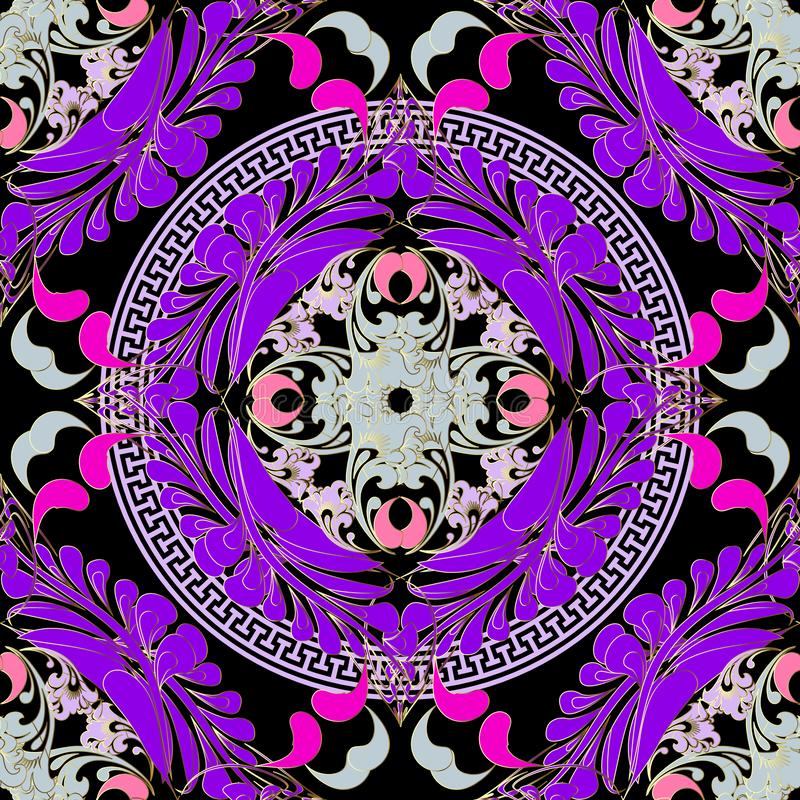 Het kleurrijke bloemen naadloze patroon van Paisley Vector sier Griekse mandalasachtergrond Mooi bloemenornament met het ronde Gr vector illustratie