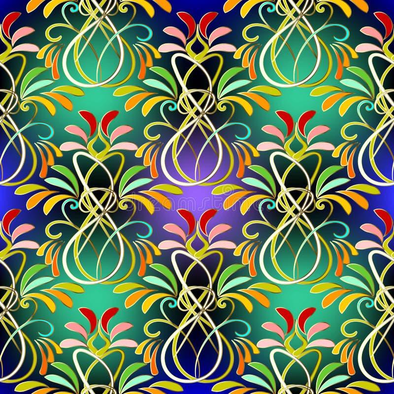 Het kleurrijke bloemen vector naadloze patroon van Paisley stock illustratie
