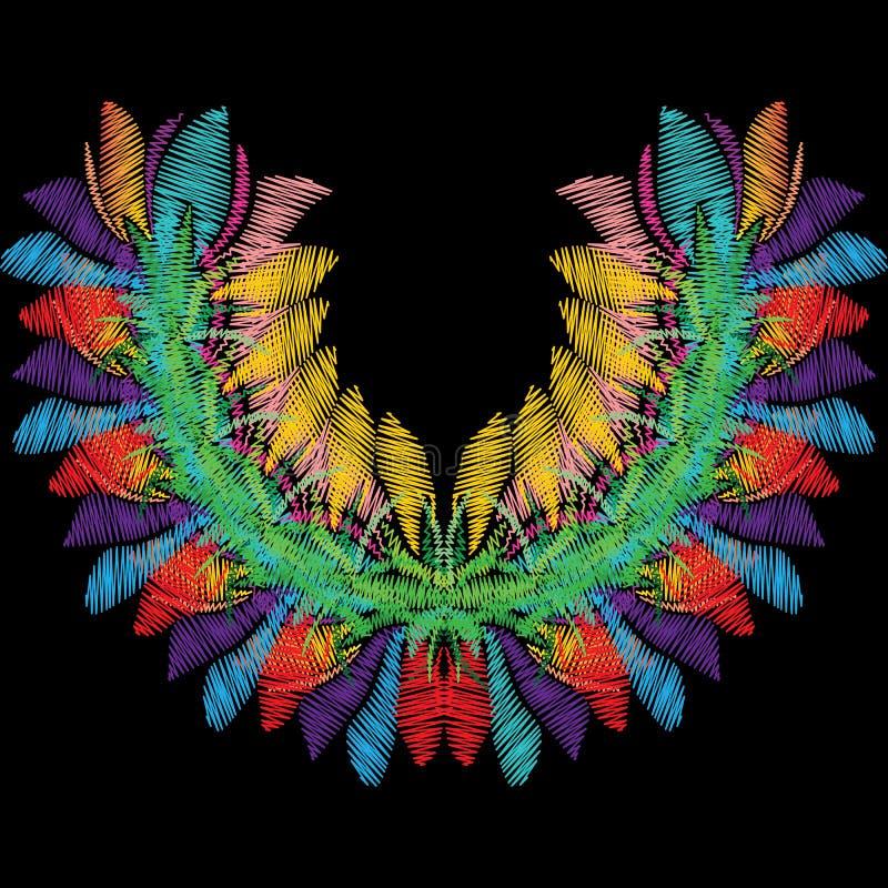 Het kleurrijke bloemenpatroon van de borduurwerkhalslijn Heldere vector backg royalty-vrije illustratie
