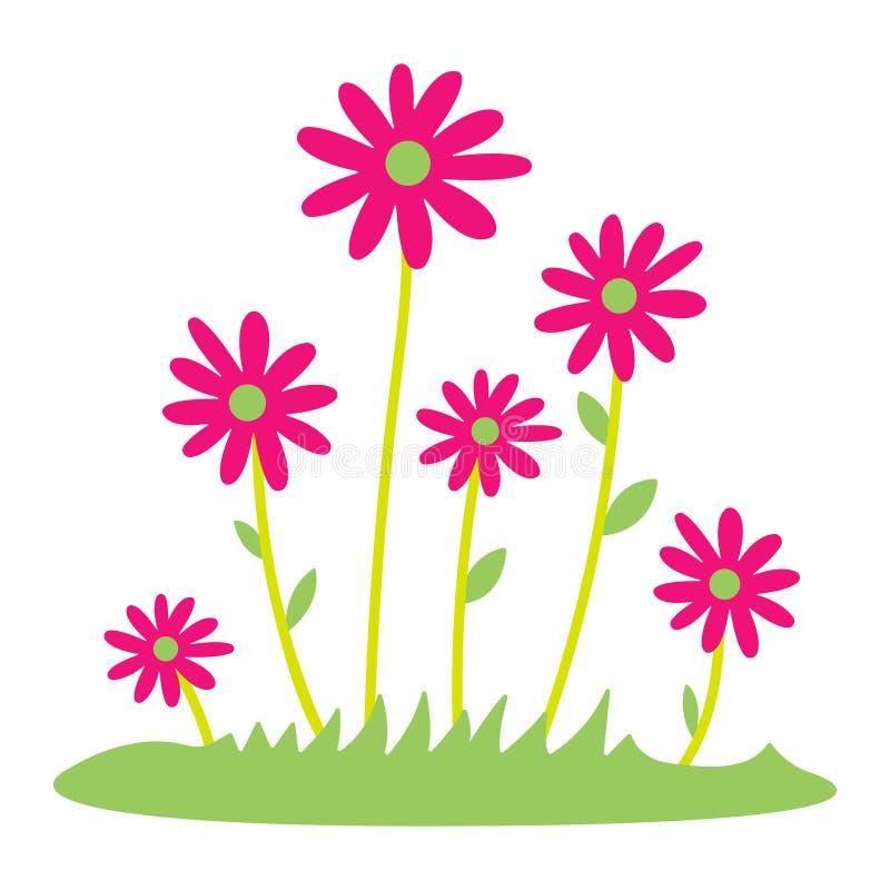 Het kleurrijke de lentemadeliefje bloeit Vectorillustratie Gras en wilde bloemen geïsoleerde achtergrond De grens van het de lent royalty-vrije illustratie