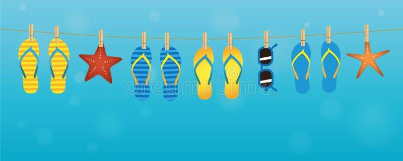 Het kleurrijke de zeester van Nd van de wipschakelaarszonnebril hangen op een kabel op turkooise achtergrond stock illustratie
