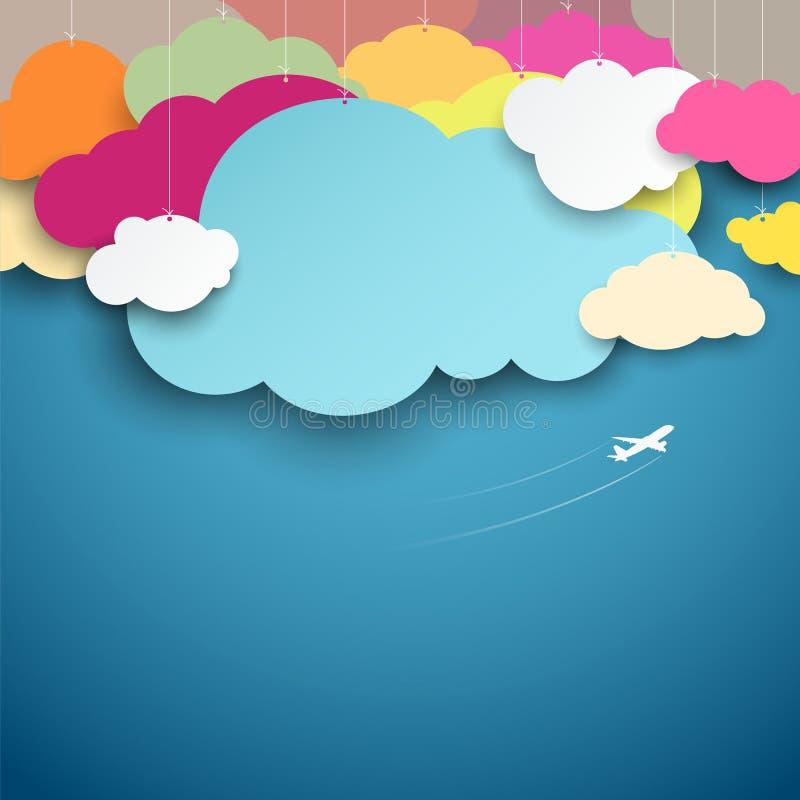 Het kleurrijke document sneed het ontwerp van de wolkenvorm vector illustratie