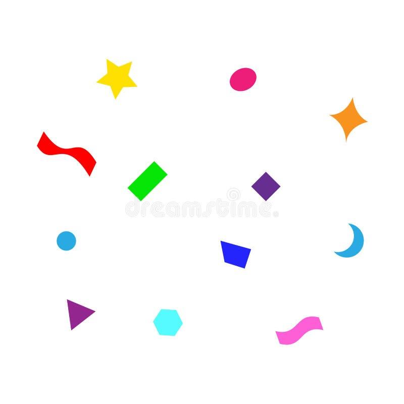 Het kleurrijke eenvoudige partijconfettien vliegen geïsoleerd op wit, de confettien van het sterlint schittert, geometrische ste royalty-vrije illustratie