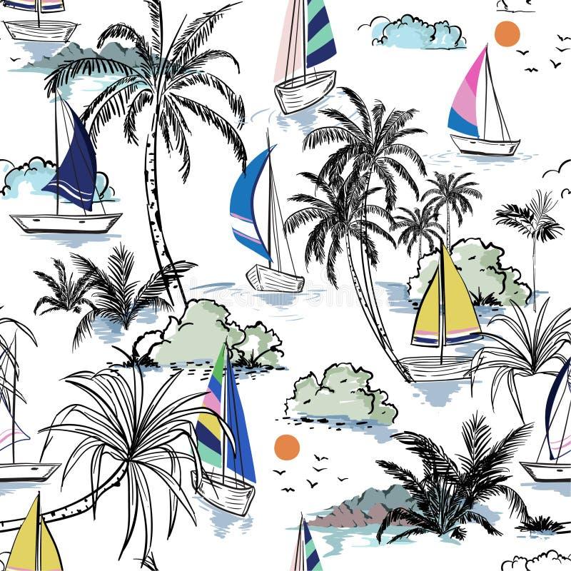 Het kleurrijke eiland van het de Zomer Mooie naadloze patroon met boot en royalty-vrije illustratie
