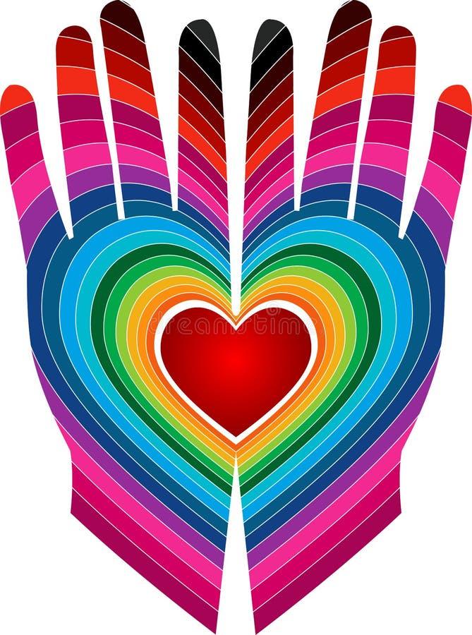 Het kleurrijke embleem van de liefdehand royalty-vrije illustratie