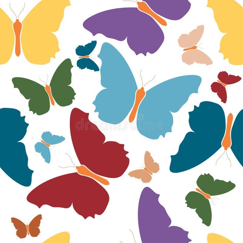 Het kleurrijke embleem van het vlinderpictogram isoleerde witte achtergrond De rode groenachtig blauwe gele violette vleugels van royalty-vrije illustratie