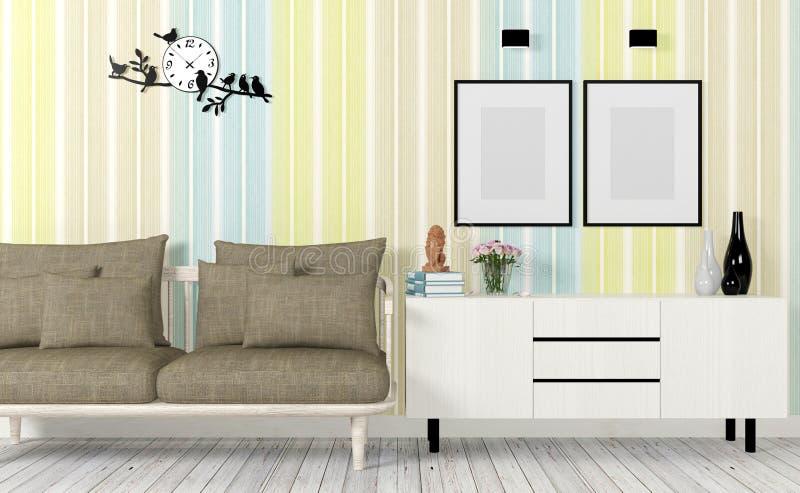 Het kleurrijke en moderne binnenland met bank, bespot omhoog affiche en zijlijst stock fotografie