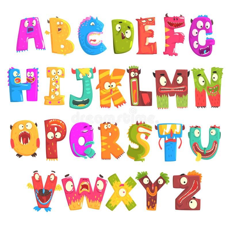 Het kleurrijke Engelse alfabet van beeldverhaalkinderen met grappige monsters Het onderwijs en de ontwikkeling van kinderen detai vector illustratie